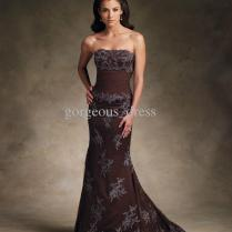 Promotion Price!low Price Brown Evening Gowns Applique Ruffle