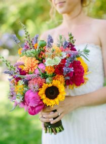 Purple And Sunflower Wedding Bouquets