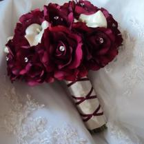 Real Touch Burgundy Roses And Real Touch Ivory Calla Lilies