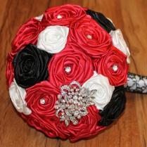 Red Brooch Bouquet, Red Broach Bouquet, Red Fabric Flower Bouquet