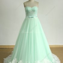 Romantic Mint Green A Line Tulle Lace Wedding Dress 2345843
