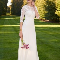 Satin And Lace Short Sleeve Wedding Dress From Camille La Vie And
