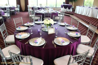 Satin Eggplant Linens With Ivory Wedding Colors