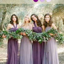 Shades Of Purple Bridesmaid Dresses For Rustic Weddings