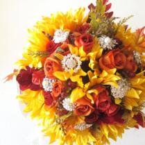 Silk Flowers Fall Wedding Bouquet, Sunflowers, Orange Roses