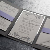 Silver Wedding Invitations Rectangle Landscape Ivory Elegance With