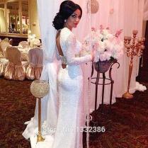 Sleeve Sequin Wedding Dress