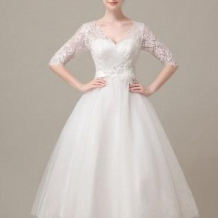 Vintage Tea Length Lace Wedding Dress With Short