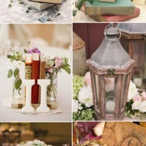 Vintage Themed Wedding Centerpieces With Lanterns And Books