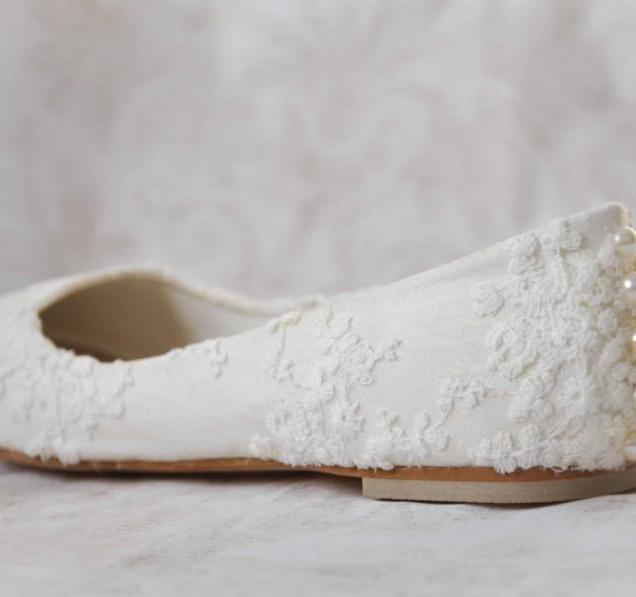 Wedding Shoes Lace Wedding Shoes Flats Pearl Shoes Lace Bridal