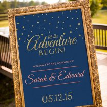 Wedding Sign Printable, Gold Wedding Decor, Navy & Gold Party