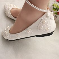 White Lace Wedding Shoes Pearls Ankle Trap Bridal Flats Low High