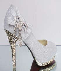 Women Bow Rhinestone High Heel Round Toe Bling Wedding Shoes