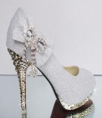 Women Bow Rhinestone High Heel Round Toe Bling Wedding Shoes