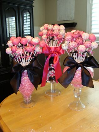 Cake Pops In Vases With Styrofoam Cute Centerpiece Idea