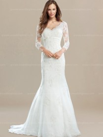 3 4 Sleeves Lace Vintage Wedding Dress $272