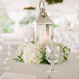 White Lantern Wedding Centerpieces