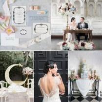 Art Deco Moon Wedding Inspiration In Rose Quartz & Serenity Chic