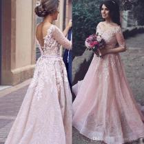 Discount Arabic 2017 Blush Pink Colored Wedding Dress A Line V