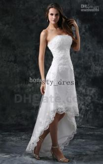 High Low White Tight Lace Wedding Dress Strapless Sweep Train