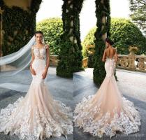 Milla Nova 2017 Designer Mermaid Wedding Dresses Illusion Neck