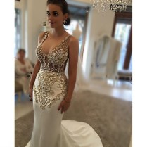 Mzyk89 Sexy Mermaid Beaded Gold Lace Appliques Wedding Dress