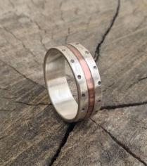 Silver Copper Wedding Band Ring, Men Engagement Ring, Rustic