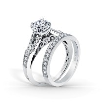 Stella Split Shank Filigree And Milgrain Edging Engagement Ring
