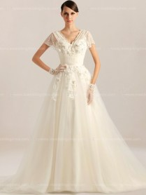 Unusual Wedding Dress With Sleeves $269