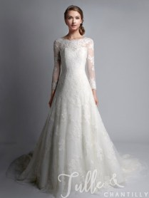 Vintage Bateau Neck Long Sleeves Lace Wedding Gown Tbqwc024