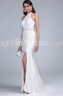 White Lace Halter Neck Long Mermaid Wedding Dress With Side Slit