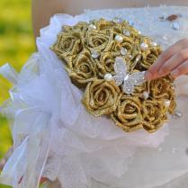 2015 New Bridal Gold Wedding Bouquet Wedding Decoration Artificial