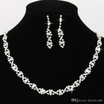 2017 Bling Crystal Bridal Jewelry Set Silver Plated Necklace