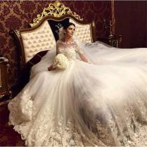 2017 Romantic Victorian Ball Gown Wedding Dresses Scoop Vintage
