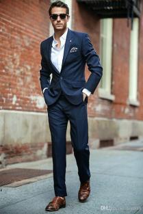 2018 Awesome Red Carpet Men Suit Slim Fit Navy Blue Wedding Suit
