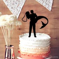 2018 Wedding Cake Topper Mermaid Bride And Groom Silhouette Cake
