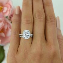 3 25 Ctw Vintage Style Wedding Set, Bridal Halo Ring, Man Made
