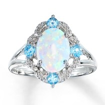 Adorable Blue Opal Wedding Rings 5