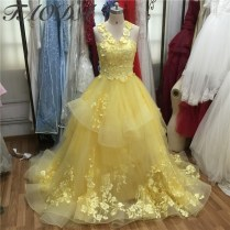 Amazing Yellow Wedding Dresses 2016 Appliques Lace Ball Gown