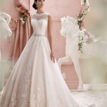 Ball Gown High Neck See Through Tulle Lace Wedding Dress