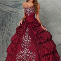 Ball Gown Sweetheart Embroidery Maroon Tiered Taffeta Floor Length