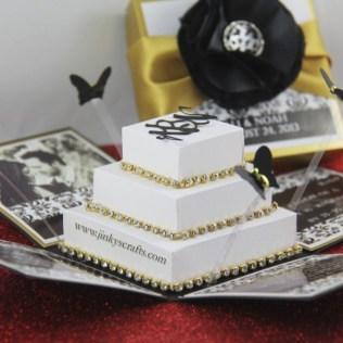 Black & Gold Damask Exploding Box Wedding Invitation