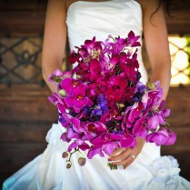 Bridal Bouquet With Fuchsia Purple Orchids