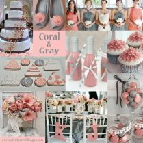 Coral And Silver Wedding Decorations 9911
