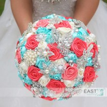 Coral And Turquoise Wedding Bouquets Aliexpress Buy Diy Brooch