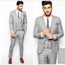 Custom Made Groom Tuxedos Gray Business Suits Classic Business