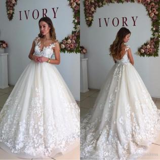 Discount 2017 Berta Lace Cap Sleeves Maternity Wedding Dresses