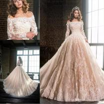 Discount 2017 New Elegant Blush Wedding Dresses Off Shoulders