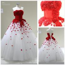 Discount Western Style Strapless White And Red Wedding Dresses