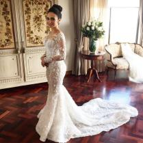 Dreammy Boho Wedding Dress 2016 Long Sleeve Mermaid Bride Dresses